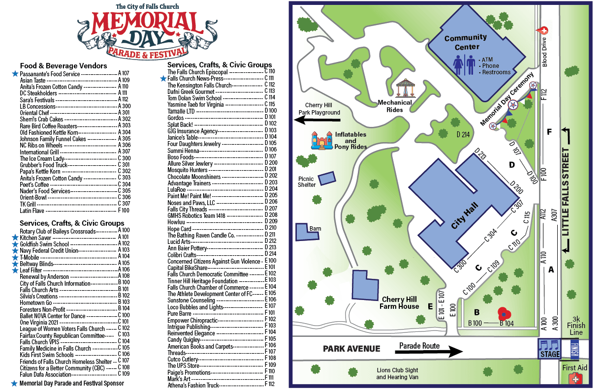 2019 Memorial Day Map and Vendors
