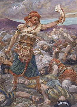 painting of Samson standing in battle