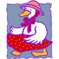 A goose wearing a hat and a skirt