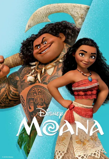 Movie poster for Moana showing Moana and Maui smiling.