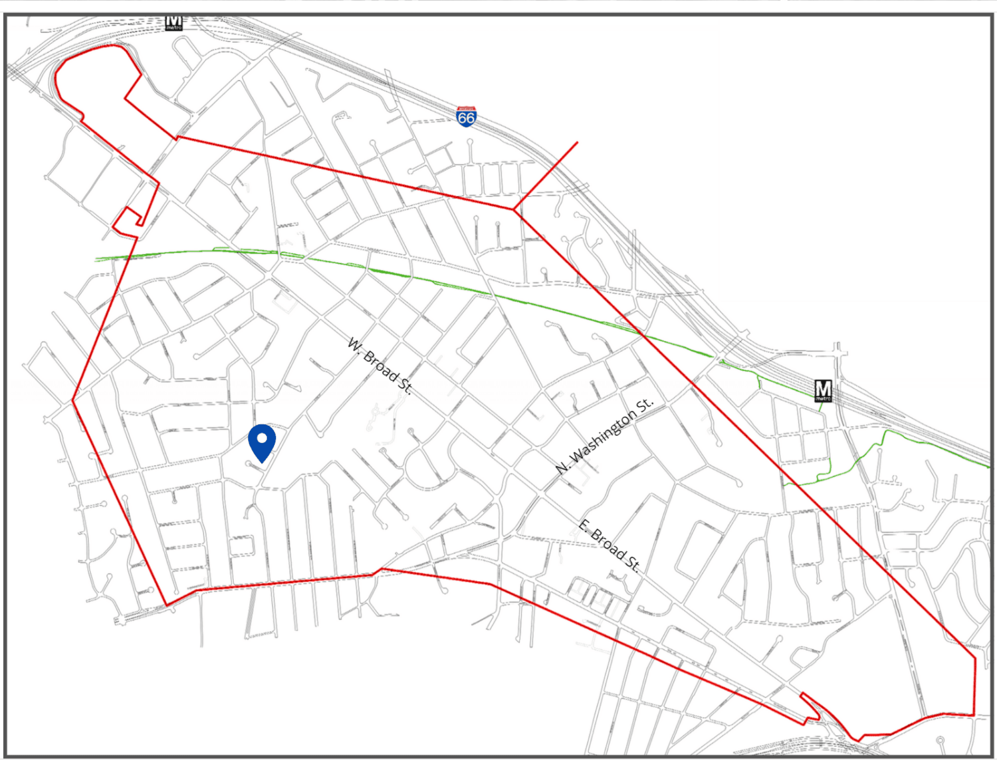 Graphic of the City boundaries and the Fellows Property pin marked.
