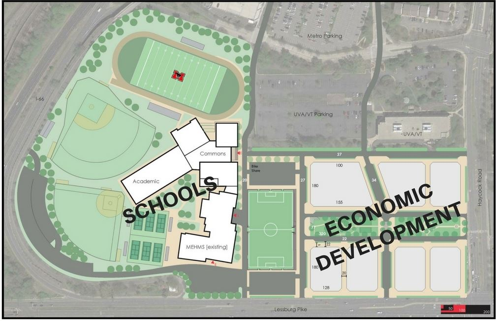 Map of the Middle School, High School, and Potential West Falls Church Economic Development Site